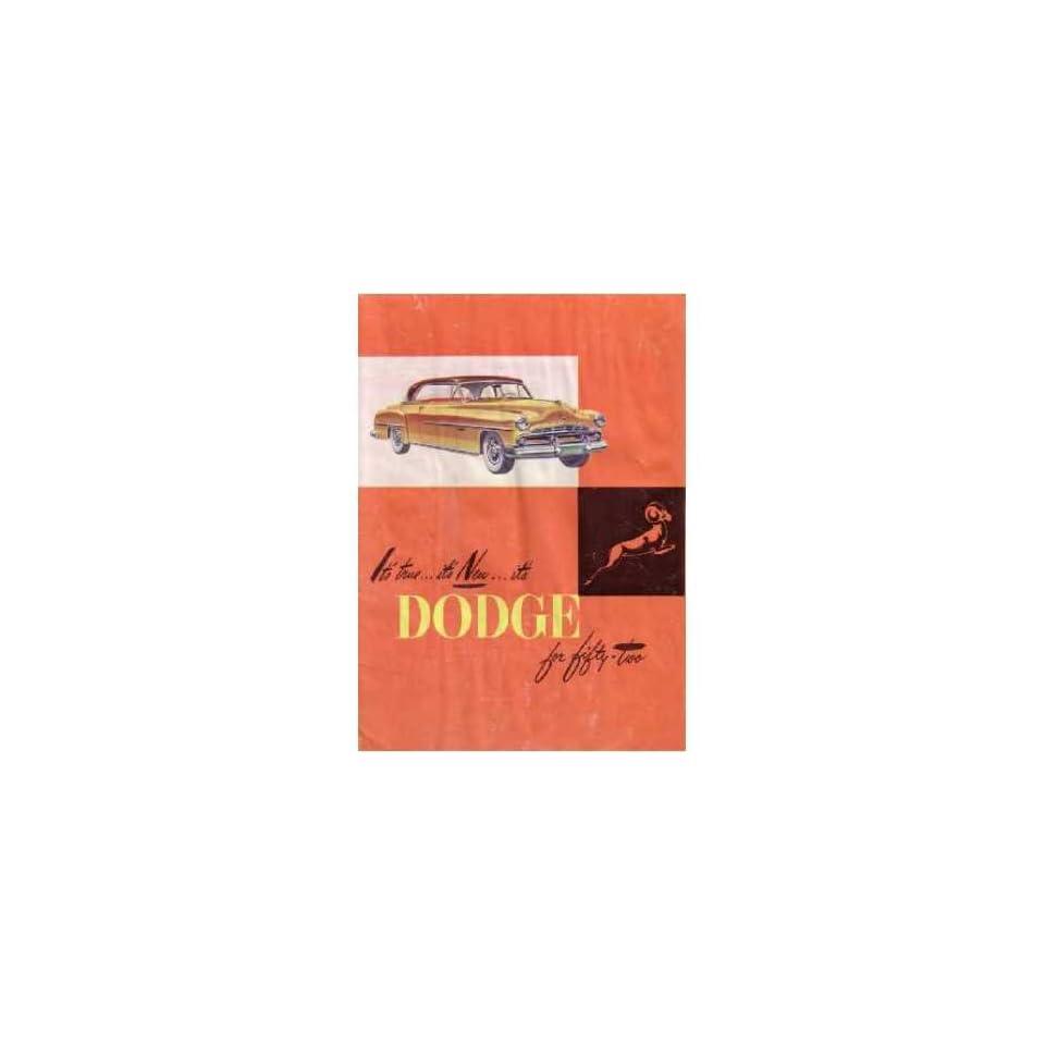 1952 Dodge Sales Brochure Literature Book Advertisement Options Specs