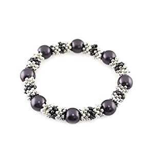 Pearl Station Stretch Bracelet; Silver And Gunmetal; Grey Pearls; Stretch;