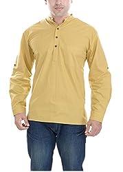 Padam Men's Cotton Kurta_PMKR0007_Yellow_S
