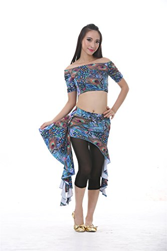 3pcs Blue Peacock Pattern Belly Dance Waist Skirt Exercise Suits For Womens