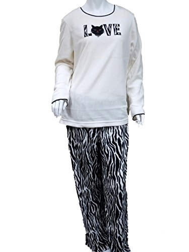 Celestial Dreams Womens Zebra Print Kitty Cat Love Pajamas Fleece Pajama Set