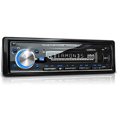 XOMAX-XM-RSU248BT-B-Autoradio-mit-Bluetooth-Freisprechfunktion-Beleuchtungsfarbe-blau-USB-Anschluss-bis-32-GB-Micro-SD-Kartenslot-bis-32-GB-fr-MP3-und-WMA-AUX-IN-Verkrzte-Einbautiefe-Single-DIN-1-DIN-