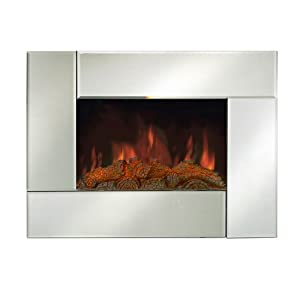 LED 26 Wall Mounted Electric Fireplace Heater Remote Control Mirror Glass