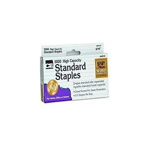 Charles Leonard High Capacity Standard Staples, 5/16 Inch Leg Length, 5000/Box (84516)
