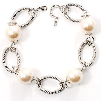 Silver Oval Links Pearl Choker