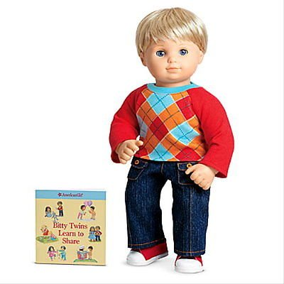 American Girl Bitty Baby Boy Twin`s Red Argyle Outfit for Dolls & Book