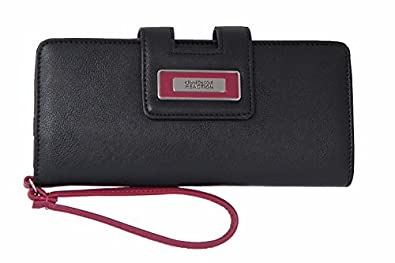 Kenneth Cole Reaction Women's Distressed Tab Clutch Wristlet Wallet (BLACK/BERRY)