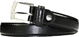 1 Inch Boys Stitched Dress Belt black/brown (small, black)