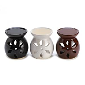 Gifts & Decor Ceramic Mini Oil Warmer Trio Tealight Candle Holder Set