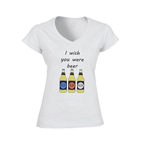 I Wish You Were Beer Medium Donne V-Neck T-Shirt
