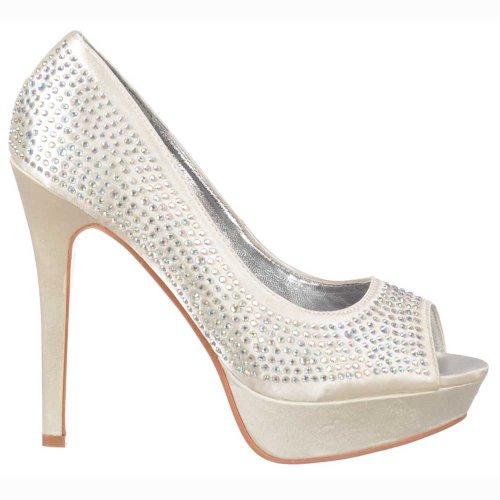 Onlineshoe Delle donne delle signore damigella d'onore nuziali Avorio Peep Toe Diamante di cristallo dello stiletto della piattaforma scarpe da sposa - raso avorio UK6 - EU39 - US8 - AU7
