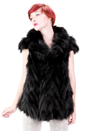 United Face Womens New Fox Rex Fur Vest, Black, Small | Sweater Center - Ao Len Dep