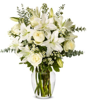 Flowers – With All Our Sympathy Lily Arrangement (FREE Vase Included)