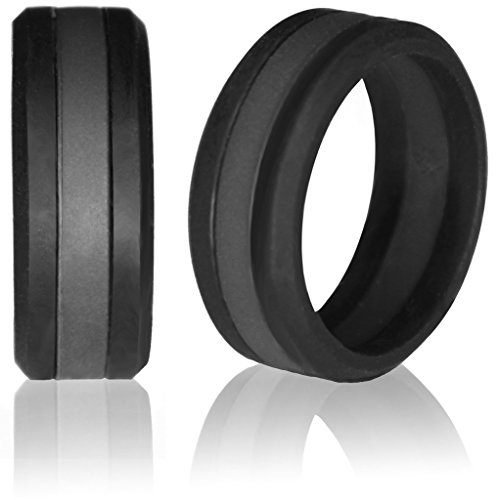Silicone Wedding Band by Knot Theory (Black with Gray / Grey Line, Size 9.5-10) ?8mm Striped Band for Superior Comfort, Style, and Safety