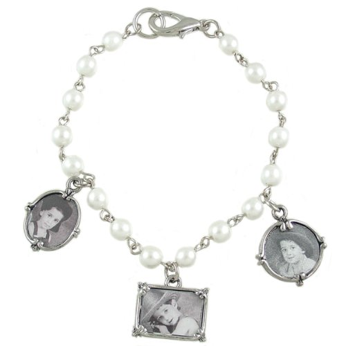 Memory Maker Pearl Beaded Photo Frame 3 Charm Bracelet