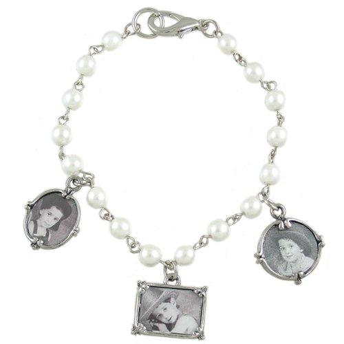 Memory Maker Pearl Beaded Photo Frame 3 Charm Bracelet