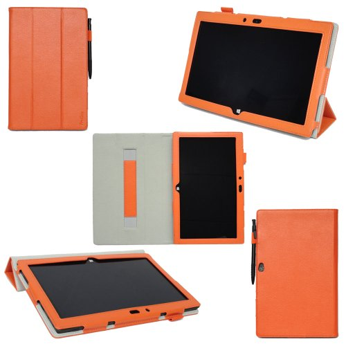 ProCase Microsoft Surface 2 Case - Tri-Fold Leather Case Cover for Microsoft Surface 2 and Surface RT Tablet (NOT for Surface Pro Tablet), built-in stand, elastic hand strap, and stylus loop (Orange)
