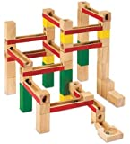Deluxe Marble Run Set, 66 Wooden Pieces with 6 Marbles