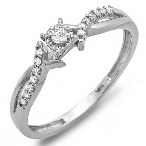 0.15 Carat (ctw) 10k White Gold Round Diamond Crossover Split Shank Ladies Bridal Promise Engagement Ring 1/6 CT