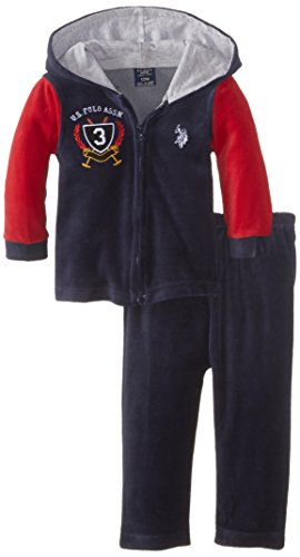 U.S. Polo Assn. Baby-Boys Infant Velour Hooded Jacket And Pant Set, Classic Navy, 18 Months