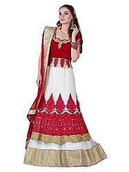 White & Red Georgette Salwar Suit