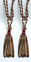 "Pair of Cherry Red, Olive Green, Light Gold Decorative Chainette Tiebacks, 5 3/4"" Tassel…"