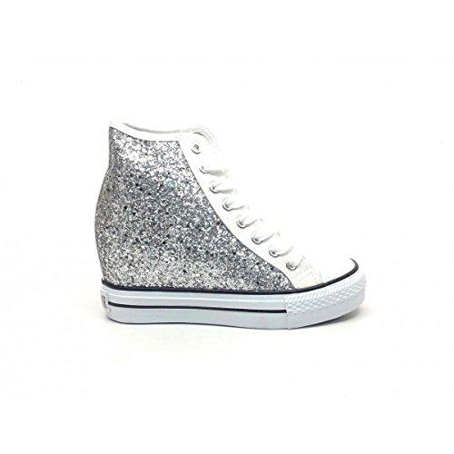 CAFÈ NOIR Sneaker donna running tipo all stars glitter P/E 2016 cod. DG901 (39, BIANCO)