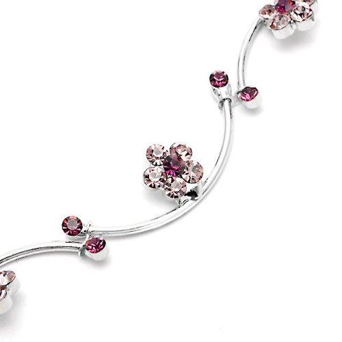 Glamorousky Flower And Wave Bracelet With Purple Swarovski Element Crystals (1035)