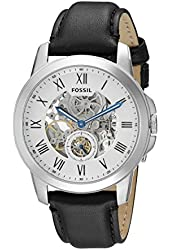 Fossil Men's ME3053 Grant Stainless Steel Automatic Watch with Black Leather Band
