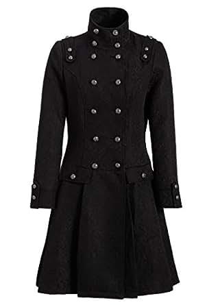 Womens Elegant Black Brocade Victorian Winter Coat Jacket