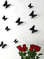 Ambiance Live Paquete De 12 Vinilos Adhesivos Mariposas 3D Negro