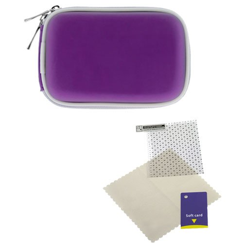 GTMax Purple Universal Digital Camera Zipper Pouch Case + Universal LCD Screen Protector