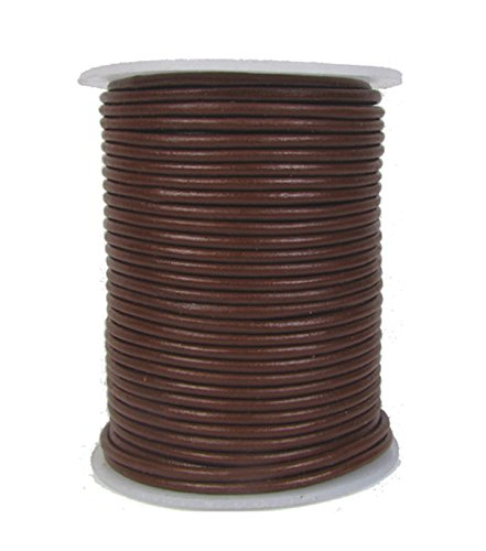 Round Leather Cord, 2.0 millimeter Brown, Sold by the Yard