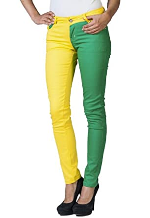 Women's Stretch Criss-Cross Color Block Jeans by Gazoz Green/Yellow 3