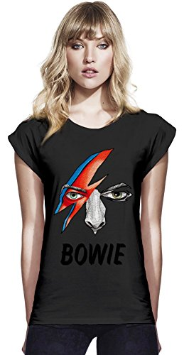 David Bowie Bolt Continental T-shirt manica laminati delle donne Women Rolled Sleeve T-Shirt Stylish Fashion Fit Custom Apparel By Genuine Fan Merchandise Large