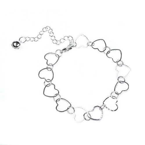 Fashion 925 Silver Beautiful Bracelets Heart-to-Heart Shape