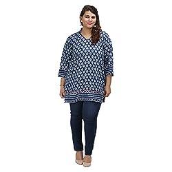 Damyantii Women's Plus Size Straight Blue Cotton 3XL Kurta