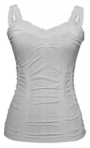 Womens Lace Trim Camisoles - White (White Lace Tank compare prices)