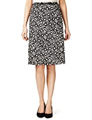 Linen Blend Geometric Print Knee Length Skirt
