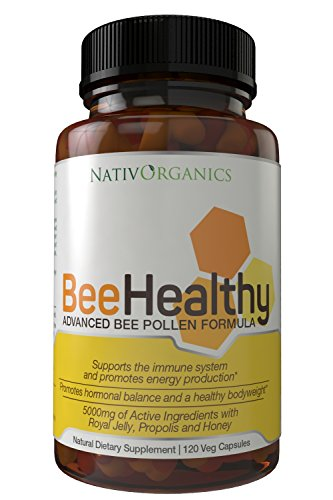 Royal Jelly - Propolis, Bee Pollen Capsules with Honey - Premium Natural USA Bees Pollen-5000mg- Boosts Immune System - Best For Metabolism & Weight Loss - BeeHealthy by NativOrganics (Organic Freeze Dried Eggs compare prices)