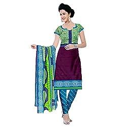 M Fab Printed Purple Cotton Un Stitched Dress Material