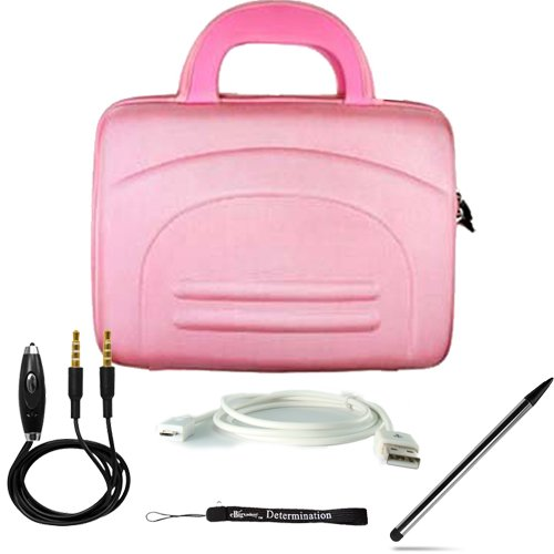 Pink eBigValue Protective Hard Nylon Cube Carrying Case with Handles for Acer Iconia Tab W Series Windows 7 Tablet 10.1 inch screen ( W500-BZ467 W500-BZ841 ) + Includes an ebigvalue (TM) Determination Hand Strap Key Chain + Includes a 3.5mm Stereo Audio Cable With Built In Microphone + Includes a Universal Stylus Pen: Pointy Tip Graphic Designer pen on one side and Round Tip on the other side + Includes a USB Data Sync Cable for your eReader