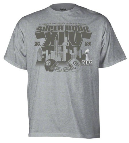 Reebok Super Bowl XLV Pittsburgh Steelers vs Green Bay Packers Dueling North Dallas T-Shirt Small
