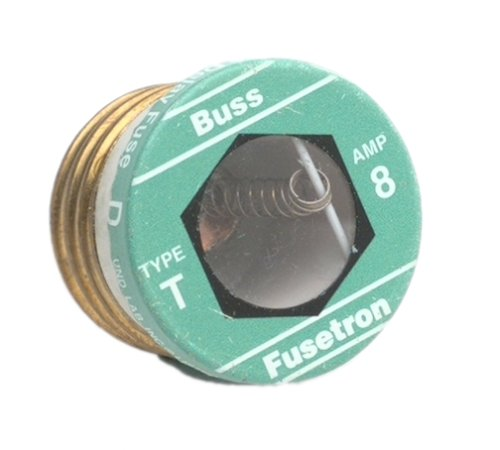 Buy Bussmann #BP/T-8 8A Type T Plug Fuse (BUSSMANN MFG DIV P1263 ,Lighting & Electrical, Electrical, Circuit Breakers Fuses & Load Centers, Fuses)