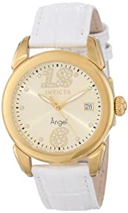 Women's Angel Gold Tone Dial White Genuine Calf Leather