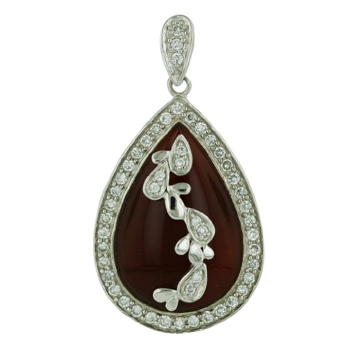 Nickle Free .925 Sterling Silver 38X28mm Oval Carnelian Circled with Clear Cubic Zirconia and leaves Center Pendant 16 inches Box Chain