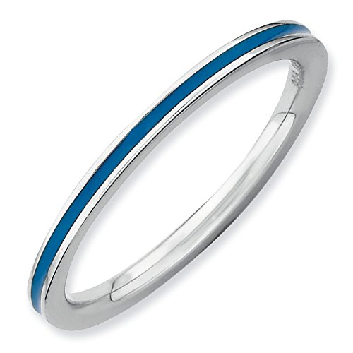 Heavenly Creative Silver Stackable Blue Enamel Band. Sizes 5-10