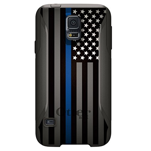 CUSTOM OtterBox Commuter Series Case for Samsung Galaxy S5 - Thin Blue Line US Flag Law Enforcement (Custom Otterbox S5 compare prices)