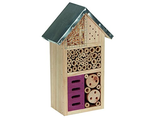 perel-bb50502-medium-wooden-insect-hotel-with-metal-roof-brown