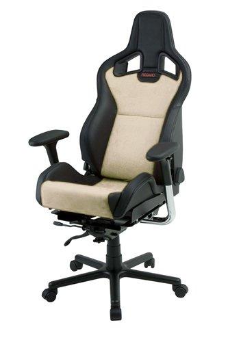 Recaro Sportster Cs Office Chair: Vinyl And Suede With Premium Wheels - Vinyl Black Bolsters, Suede Beige Inserts